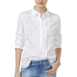 NWT Tommy Hilfiger Women's Plaid Ruffled Shirt